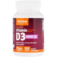 Jarrow Formulas, Vitamin D3, 125 mcg (5,000 IU), 100 Softgels