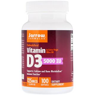 Jarrow Formulas, Vitamin D3, Cholecalciferol, 5,000 IU, 100 Softgels
