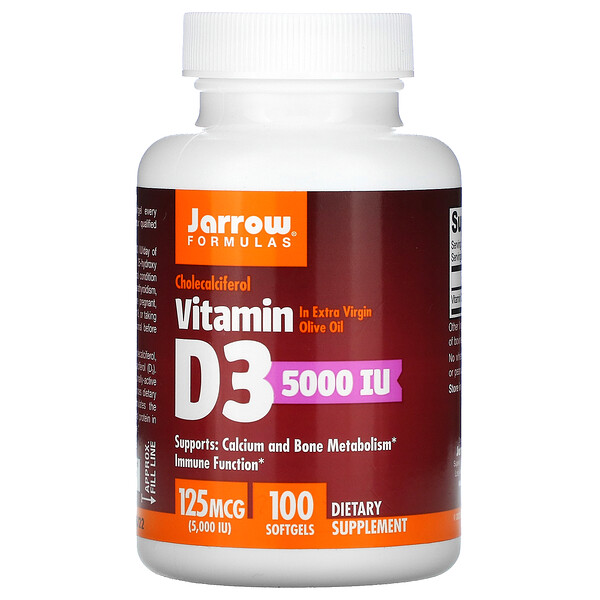 Vitamin D3, Cholecalciferol, 125 mcg (5,000 IU), 100 Softgels