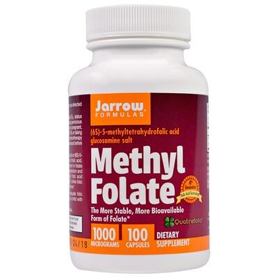 Купить Jarrow Formulas Methyl Folate, 1, 000 mcg, 100 Capsules