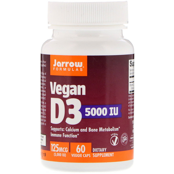 Jarrow Formulas, Vegan D3, 125 mcg (5,000 IU), 60 Veggie Caps