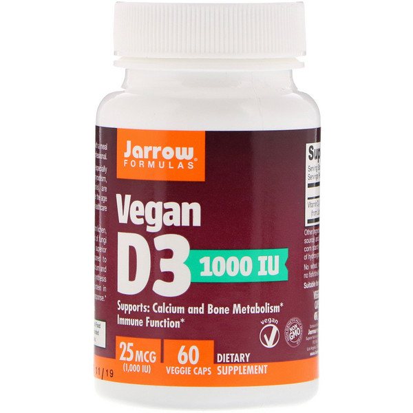 Jarrow Formulas, Vegan D3, 25 mcg (1000 IU), 60 Veggie Caps (Discontinued Item)