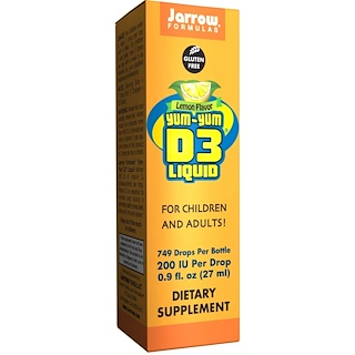 Jarrow Formulas, Yum-Yum D3 Liquid, Lemon Flavor, 0.9 fl oz (27 ml)