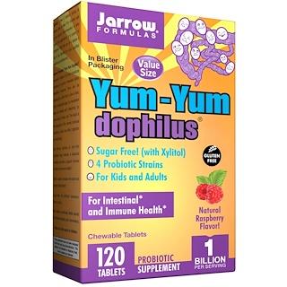 Jarrow Formulas, Yum-Yum Dophilus, Sugar-Free!, Natural Raspberry Flavor, 120 Chewable Tablets