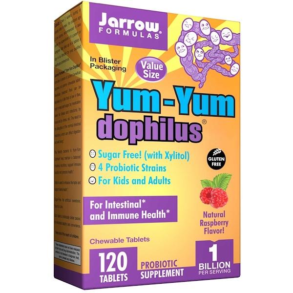 Jarrow Formulas, ヤムヤムドフィルス、砂糖不使用、天然ラズベリー味、チューイングタブレット 120 錠 (Ice)