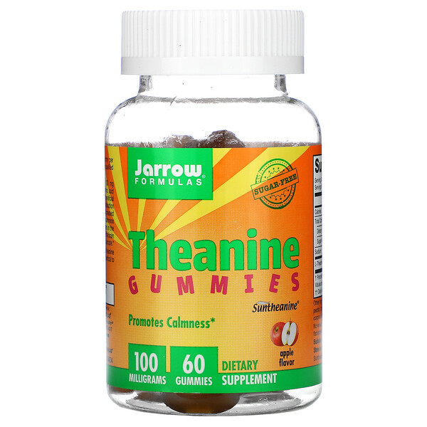 Theanine Gummies, Sugar Free, Apple Flavor, 100 mg, 60 Gummies