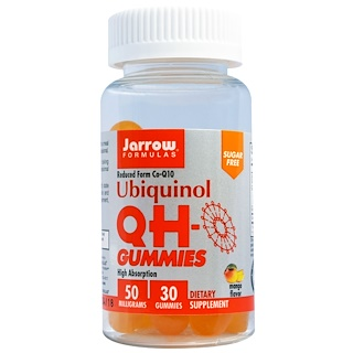 Jarrow Formulas, Ubiquinol QH-Gummies, Sugar Free, Mango Flavor, 50 mg, 30 Gummies