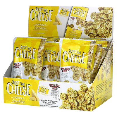Just The Cheese Crunchy Mini Toasted Cheese, White Cheddar, 16 Packages, 0.5 oz ( 14 g) Each