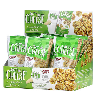 Just The Cheese Crunchy Mini Toasted Cheese, Jalapeno Cheese, 16 Packages, 0.5 oz (14 g) Each