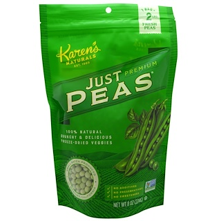 Karen's Naturals, Premium, Freeze-Dried Veggies, Just Peas, 8 oz (224 g)