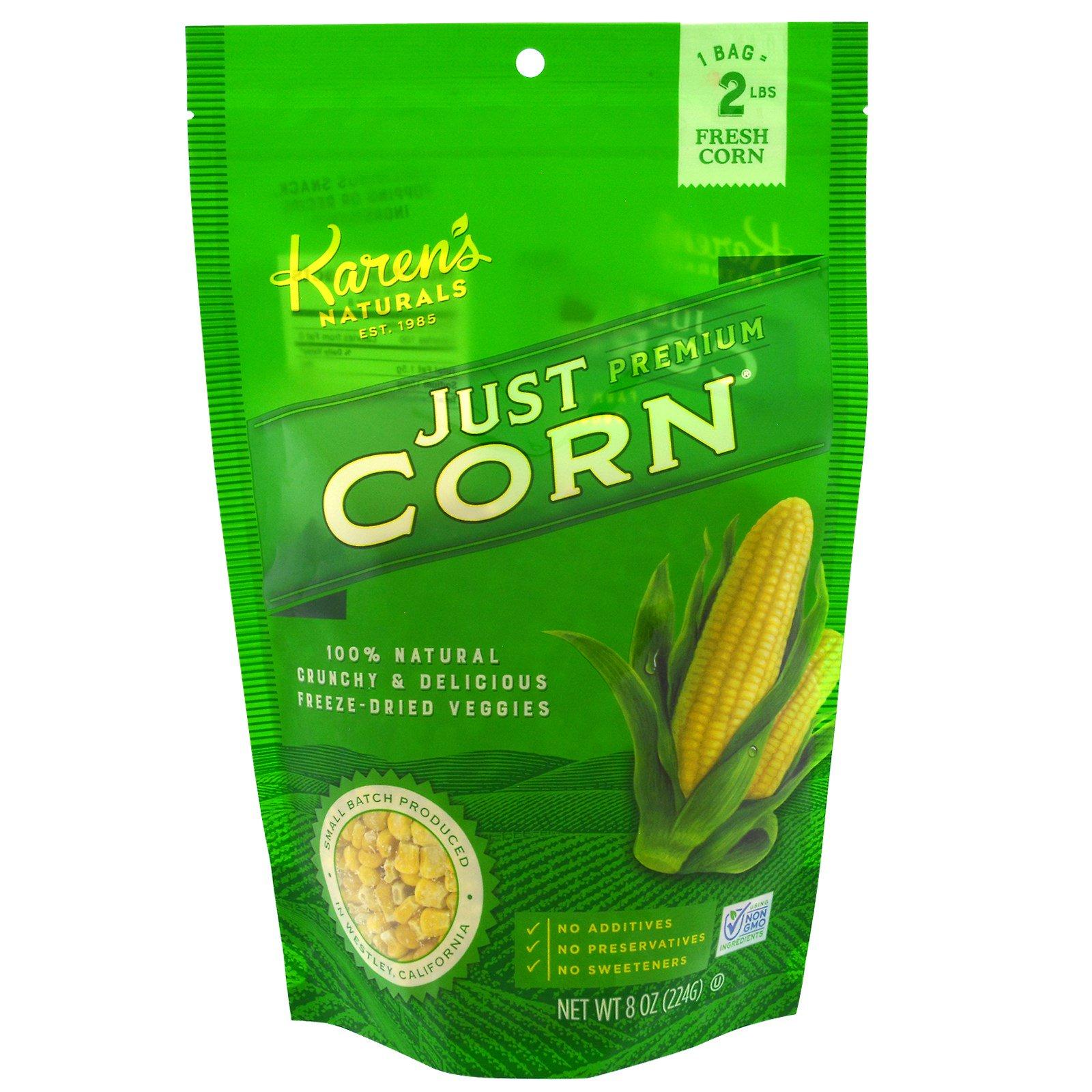 Karen's Naturals, Сублимированные овощи премиум-класса, просто кукуруза, 8 унций (224 г)