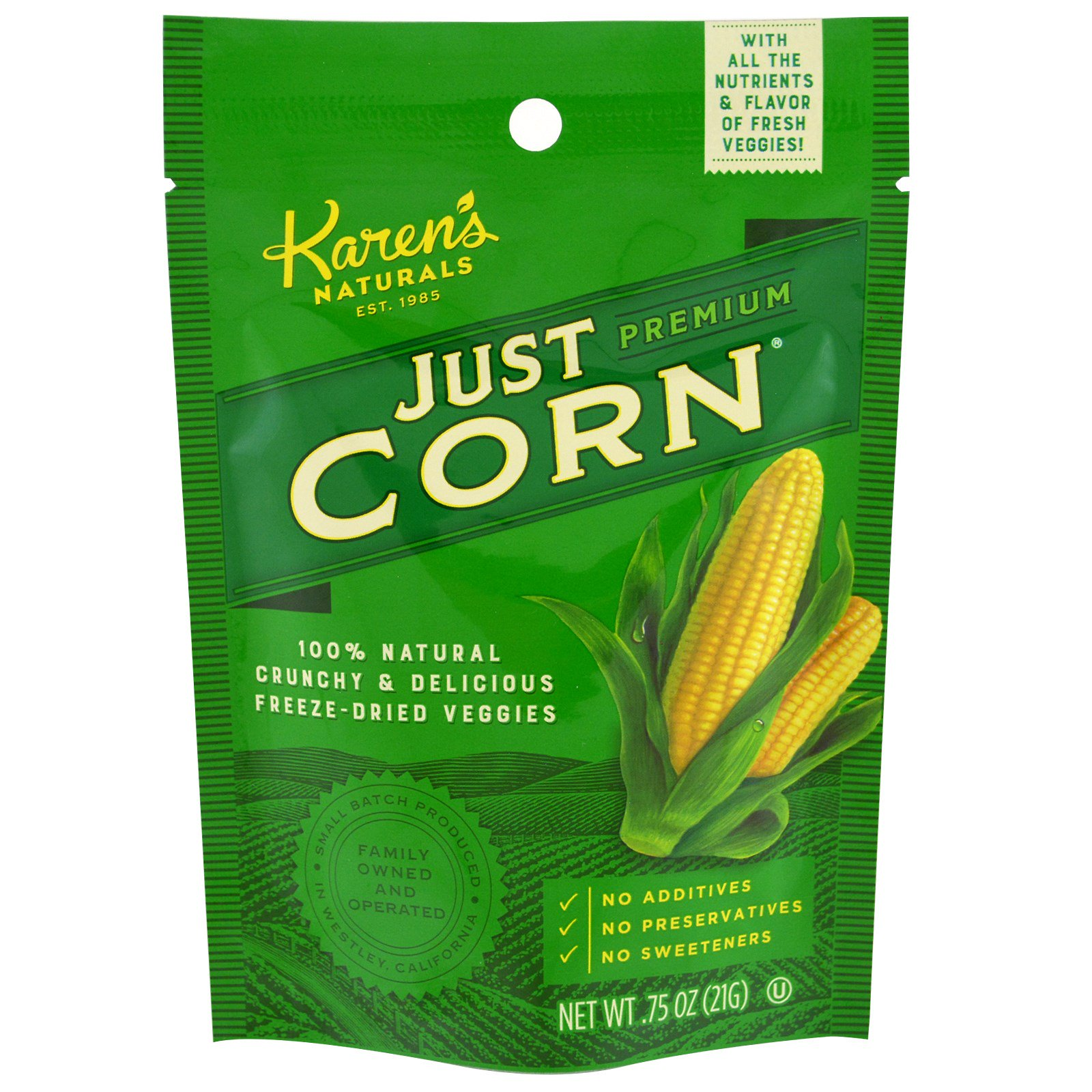 Karen's Naturals, Just Corn, Snack Bag, .75 oz (21 g)