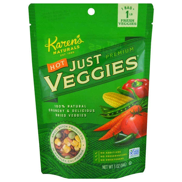 Karen's Naturals, Hot Just Premium Veggies, 3 oz (84 g) (Discontinued Item)