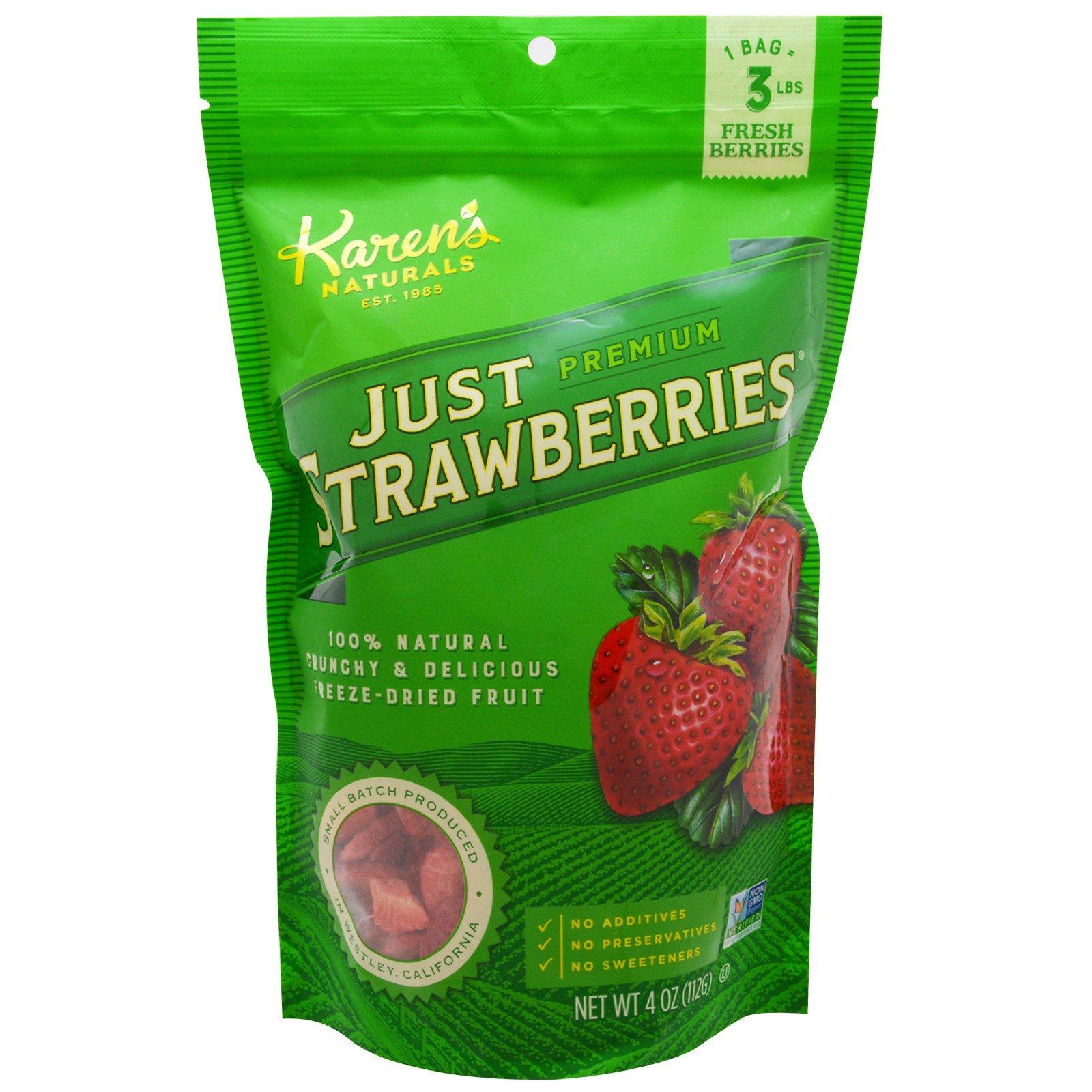 Karen's Naturals, Премиум продукт, Лиофилизированные фрукты, Натуральная клубника, 112 г (4 oz)