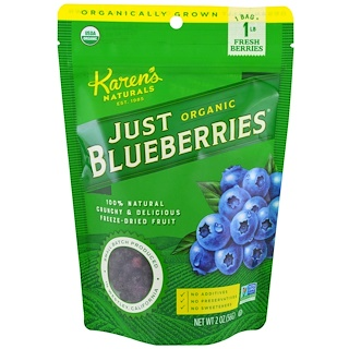 Karen's Naturals, Organic Just Blueberries, Freeze-Dried Fruit, 2 oz (56 g)