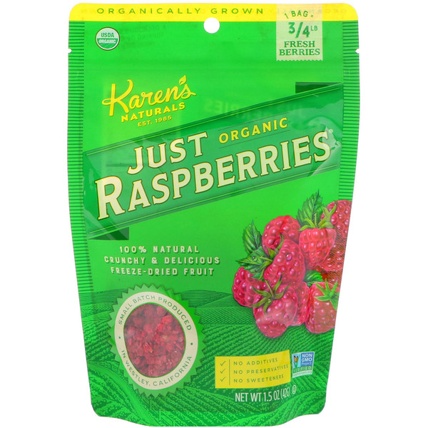 Karen's Naturals, Just Organic Raspberries, 1.5 oz (42 g)