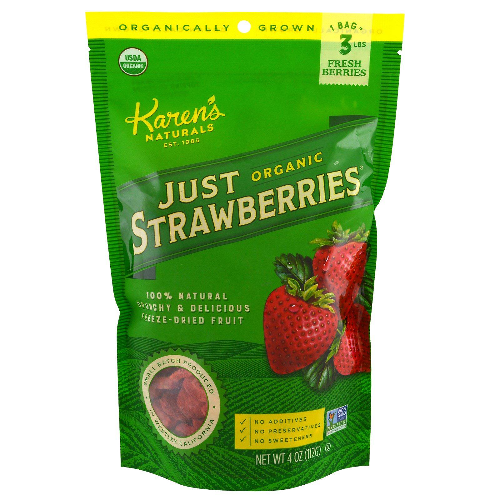 Karen's Naturals, Органический продукт, Лиофилизированные фрукты, Натуральная клубника, 112 г (4 oz)