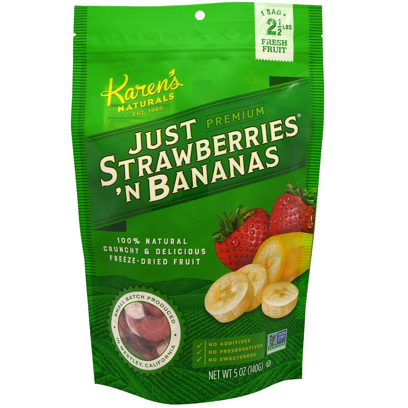 Karen's Naturals, Премиум, лиофилизированные фрукты, Just Strawberries 'N Bananas (натуральный банан и клубника), 140 г (5 oz)