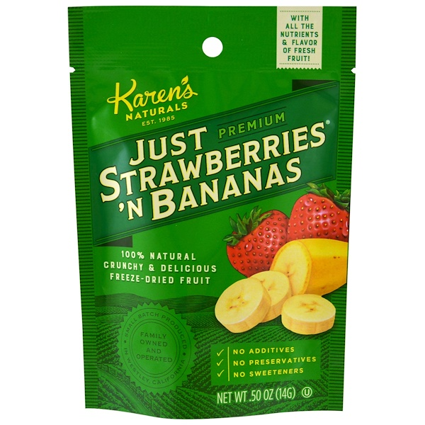 Karen's Naturals, Premium, Just Strawberries 'N Bananas, .50 oz (14 g) (Discontinued Item)
