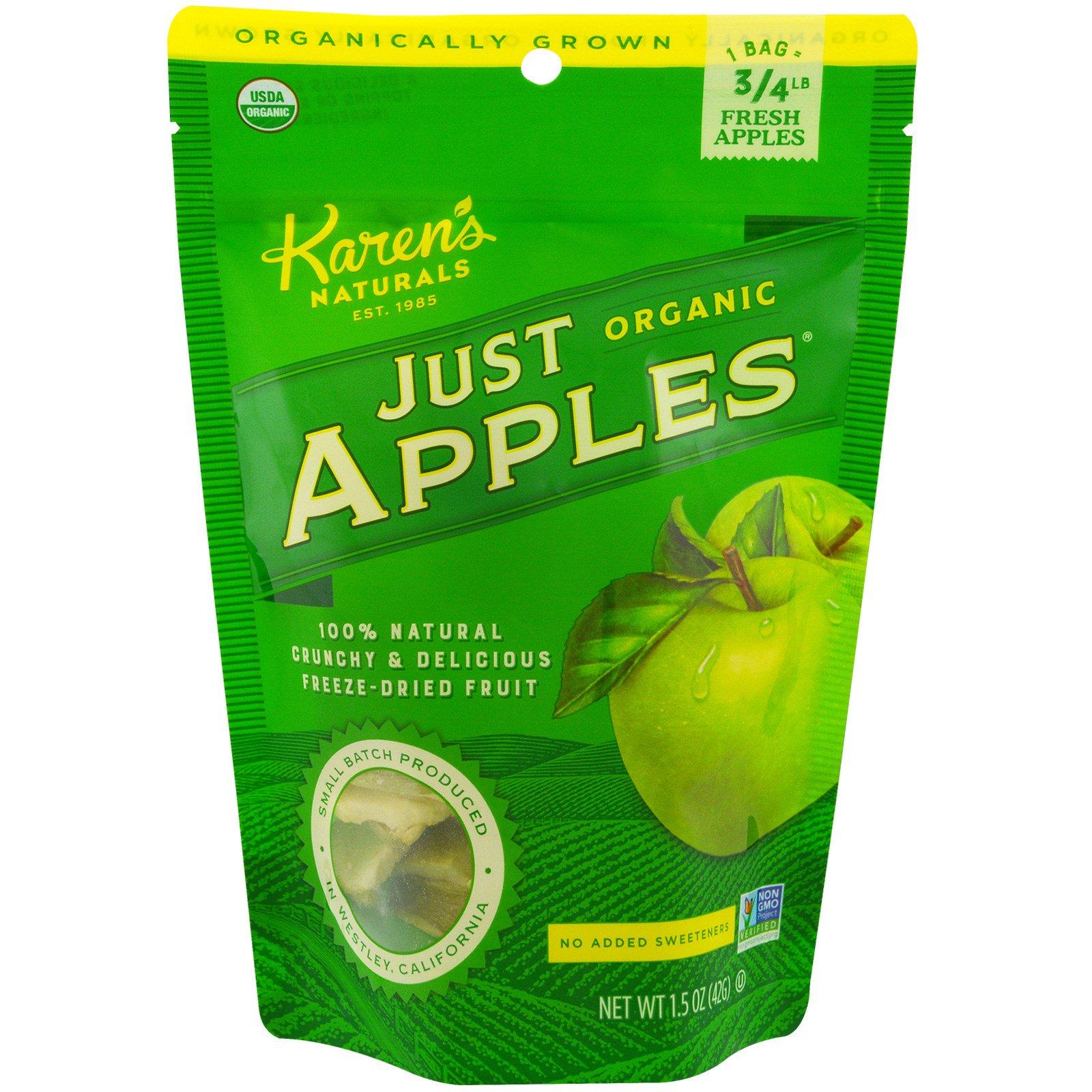 Karen's Naturals, Органические яблоки сушеные Just Apples, 1,5 унции (42 г)