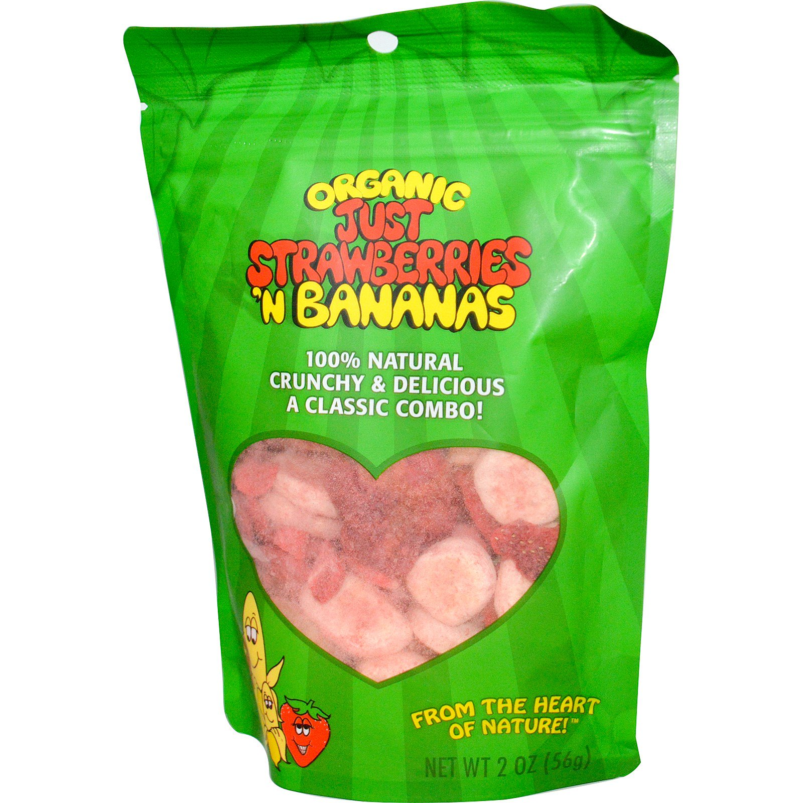 Karen's Naturals, Органическая сушеная клубника и банан Just Strawberries 'n Banana, 2 унции (56 г)