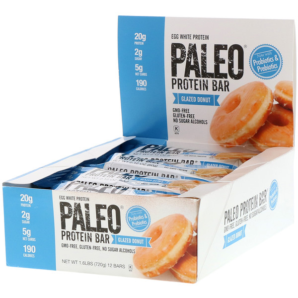 PALEO Protein Bar, Glazed Donut, 12 Bars, 2.12 oz (60 g) Each
