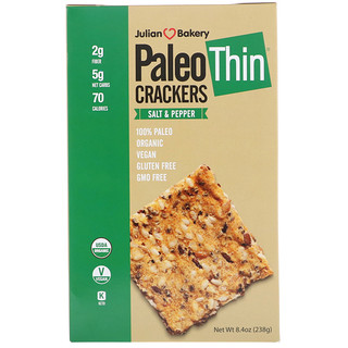 Julian Bakery, Paleo Thin Crackers, Salt & Pepper, 8.4 oz (238 g)