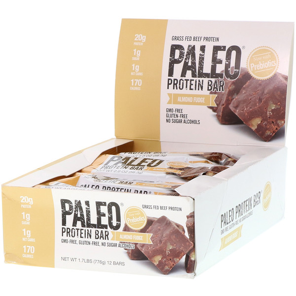 Julian Bakery, PALEO Protein Bar, Almond Fudge, 12 Bars, 2.0 oz (56.3 g) Each
