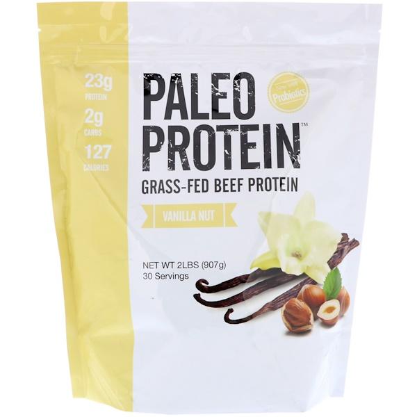 Proteína Paleo, proteína de carne alimentada con pasto, vainilla y nueces, 2 lb (907 g)