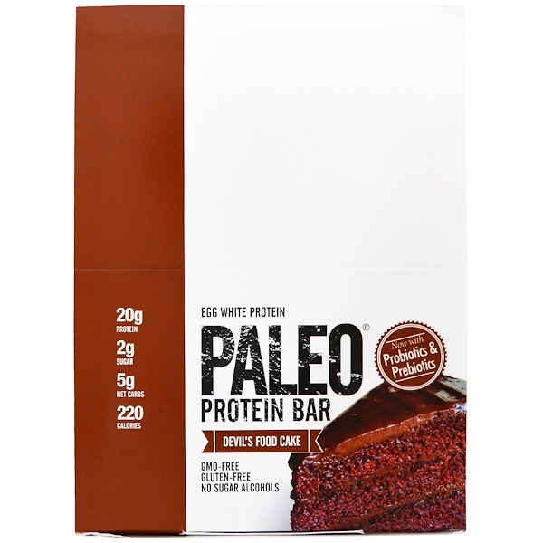 Julian Bakery, Paleo Protein Bar, Devil's Food Cake, 12 Bars, 2.22 oz (63.1 g) Each (Discontinued Item)