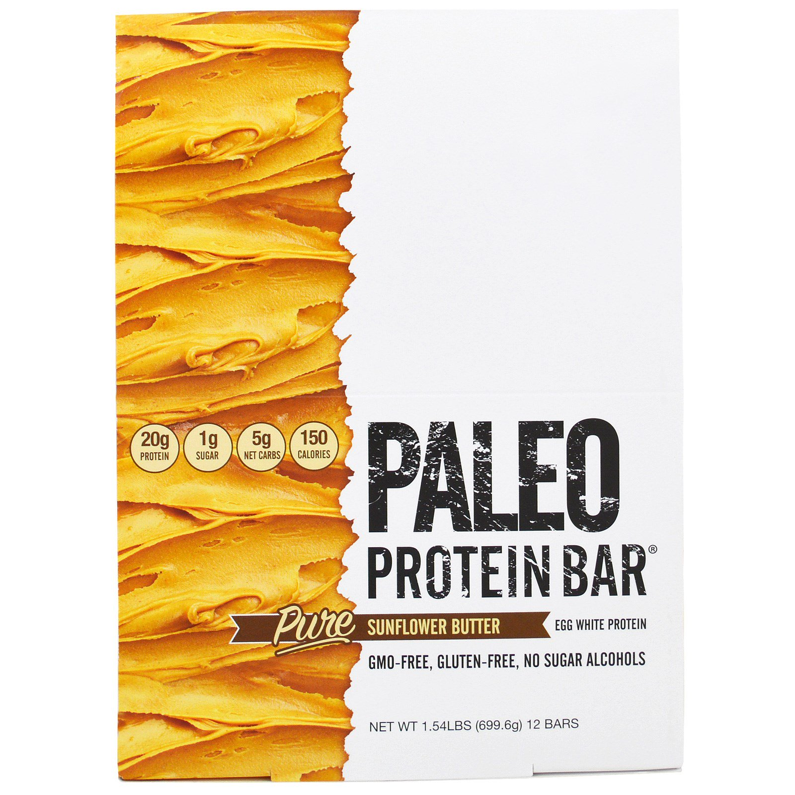 Julian Bakery, Протеиновые батончики палео, Чистое подсолнечное масло , 12 батончиков, 2,05 унции (58,3 г) каждый
