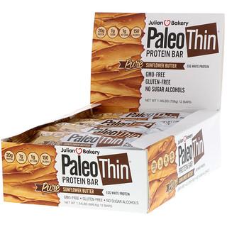 Julian Bakery, Paleo Thin Protein Bar, Pure Sunflower Butter, 12 Bars, 2.08 oz (59 g) Each