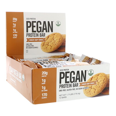 Julian Bakery PEGAN Protein Bar, Seed Protein, Ginger Snap Cookie, 12 Bars, 2.28 oz (64.7 g) Each