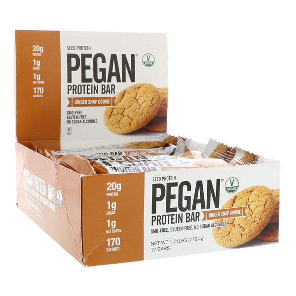 Pegan Protein Bar, Seed Protein, Ginger Snap Cookie, 12 Bars, 2.28 oz (64.7 g) Each