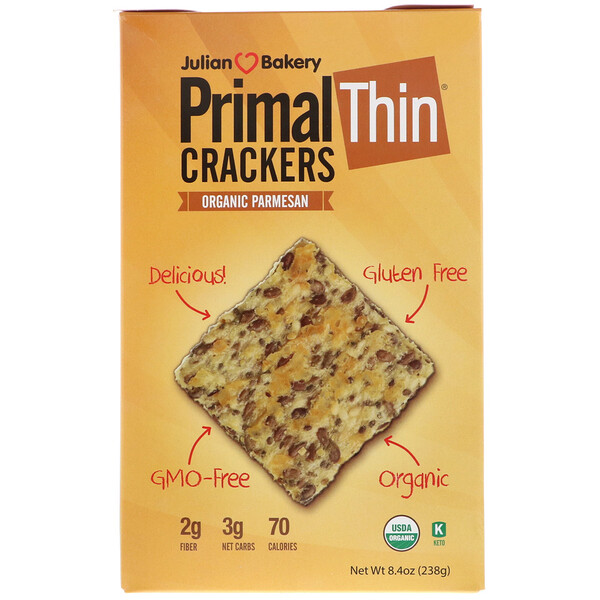 Julian Bakery, Galletas Primal Thin, parmesano orgánico, 8.4 oz (238 g)