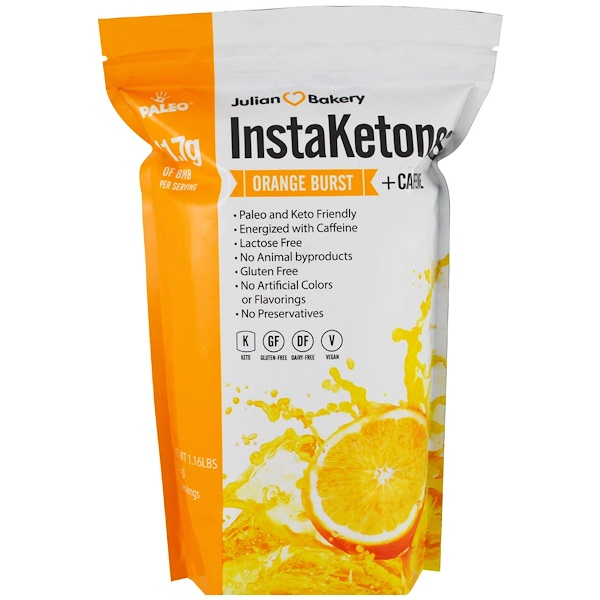 Julian Bakery, InstaKetones, Orange Burst + Caffeine, 1.16 lbs (525 g)