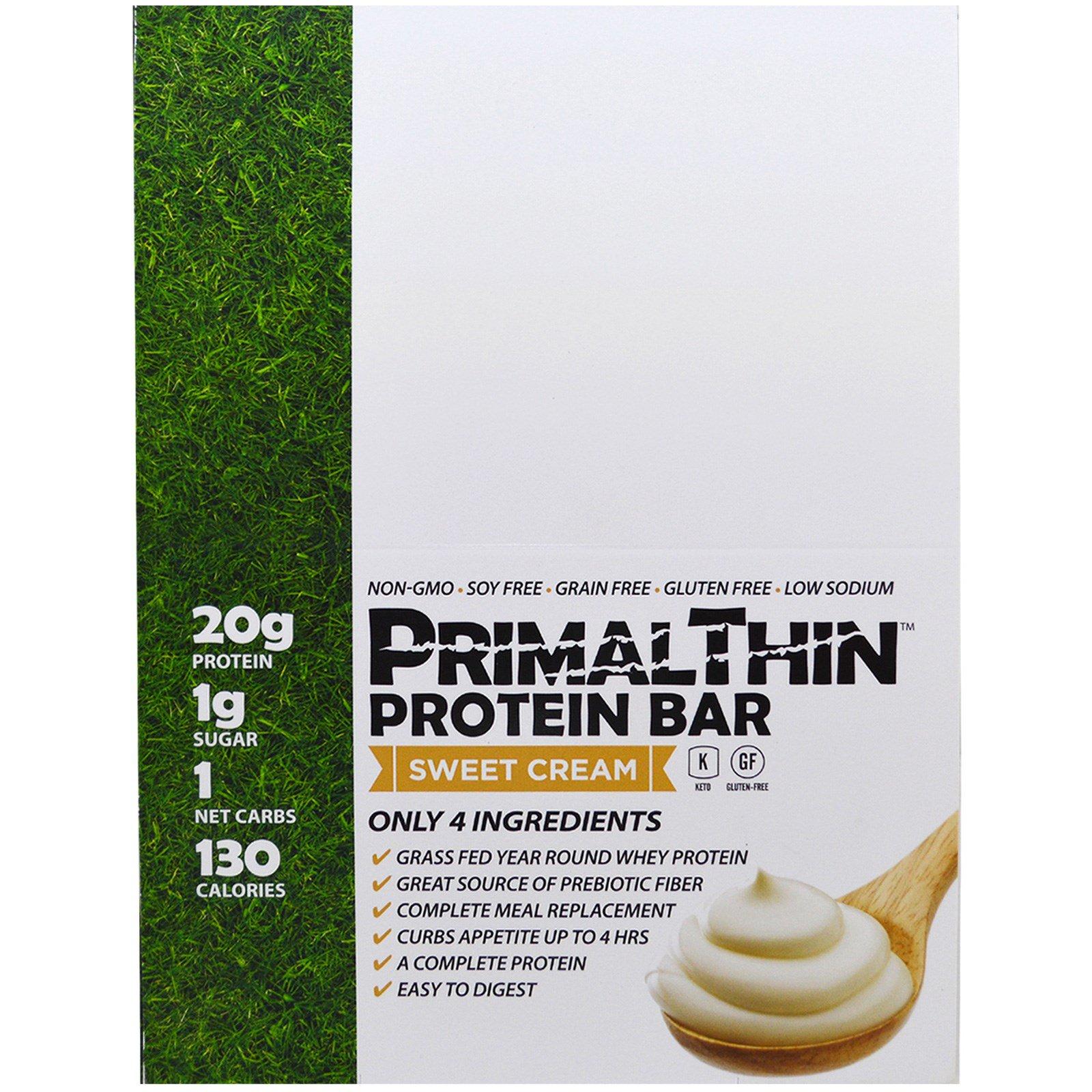 Julian Bakery, Primal Thin Protein Bar, Sweet Cream, 12 Bars, 1.9 oz (54 g) Each