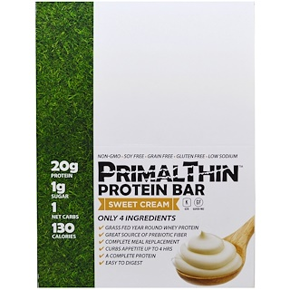 Julian Bakery, PrimalThin Protein Bar, Sweet Cream, 12 Bars, 1.9 oz (54 g) Each