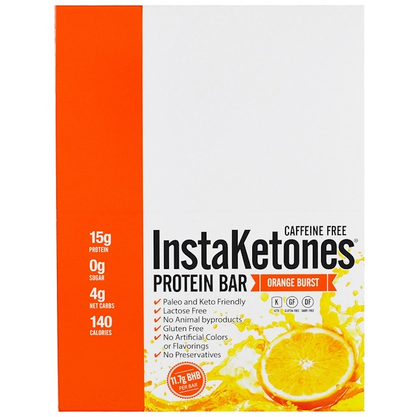 Julian Bakery, InstaKetones Protein Bar, Caffeine Free, Orange Burst, 12 Bars, 2.08 oz (59 g) Each