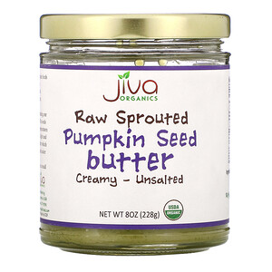 Jiva Organics,  Raw Sprouted Pumpkin Seed Butter, Creamy - Unsalted, 8 oz (228 g)