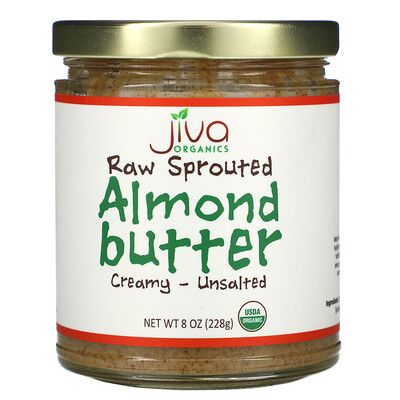 Купить Jiva Organics Raw Sprouted Almond Butter, Creamy - Unsalted, 8 oz (228 g)
