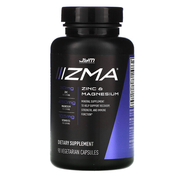 JYM Supplement Science, ZMA, Zinc & Magnesium, 90 Vegetarian Capsules