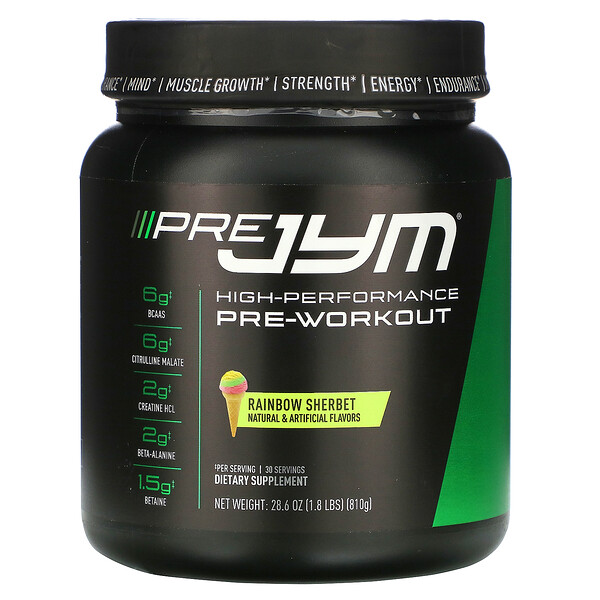 JYM Supplement Science, High-Performance Pre-Workout, Rainbow Sherbet, 28.6 oz (810 g)