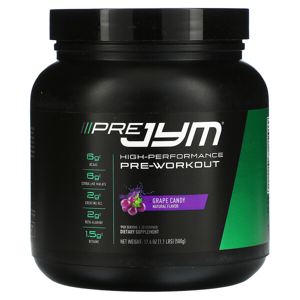 Pre JYM, High Performance Pre-Workout, Grape Candy, 1.1 lbs (500 g)