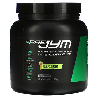 JYM Supplement Science, Pre JYM, High Performance Pre-Workout, Rainbow Sherbet, 1.2 lbs (540 g)