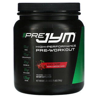 JYM Supplement Science, Pre JYM, High-Performance Pre-Workout, Black Cherry, 1.7 lbs (780 g)