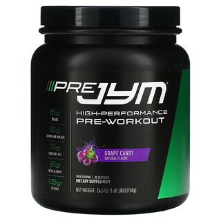 JYM Supplement Science, Pre JYM,高性能氮泵,葡萄糖果,1.65 磅(750 克)