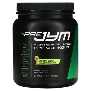 JYM Supplement Science, Pre JYM, High-Performance Pre-Workout, Rainbow Sherbet, 1.8 lbs (810 g)