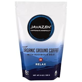 Javazen, Decaf, Organic Ground Coffee With Rooibos & Goji, Relax, 9 oz (255 g)