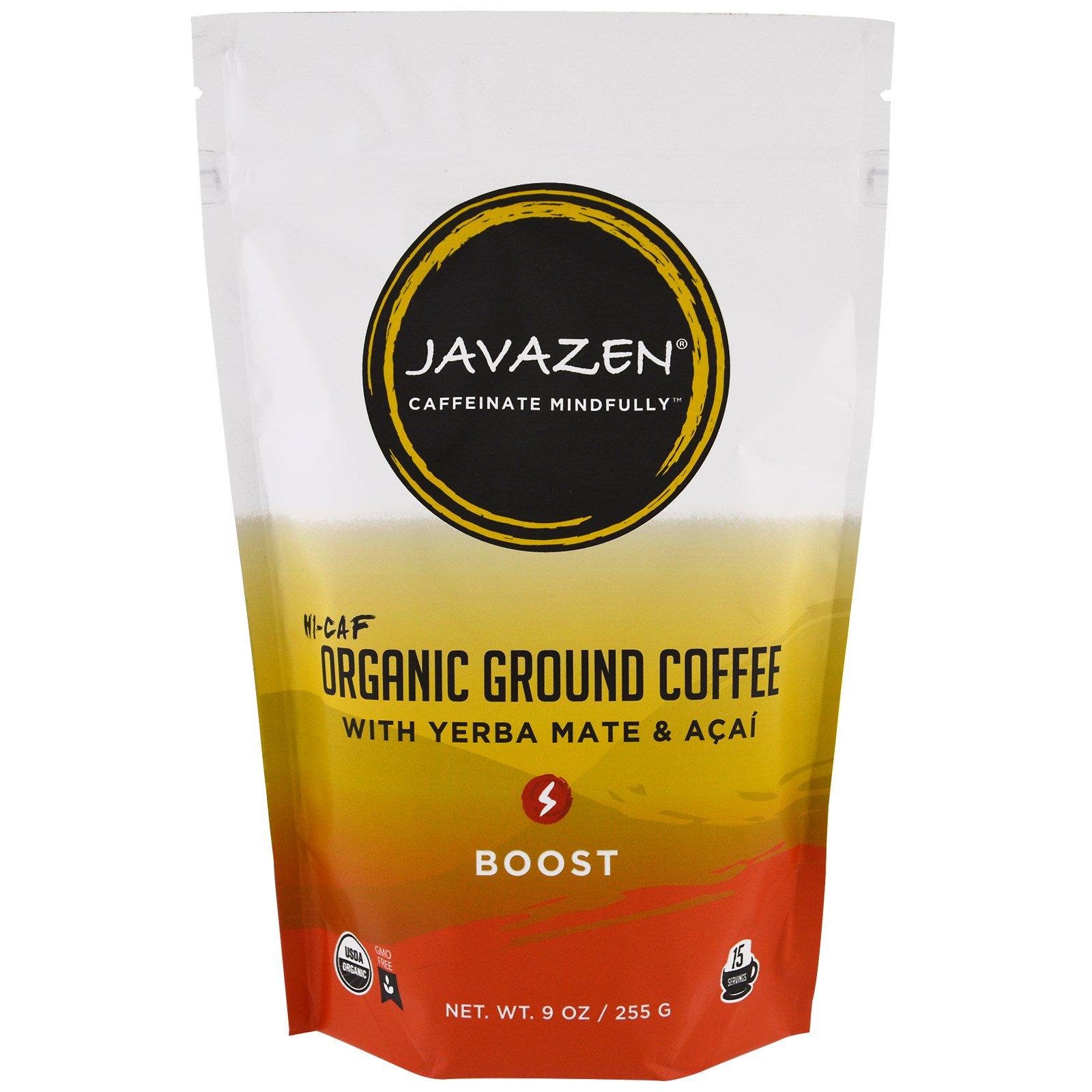 Javazen, Высокое содержание кофеина, органический молотый кофе с падубом парагвайским и асаи, усиление, 255 г (9 унц.)